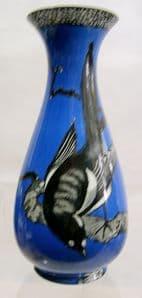 W & R Carlton Ware ''Magpies' Blue Vase - 1920s