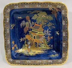 W & R Carlton Ware -New Mikado Design Blue Lustre Square Dish - 1920s - SOLD