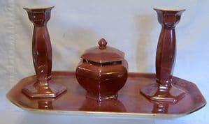 W & R Carlton Ware Pink Lustre 4-Piece Windsor Trinket Set - early 1900s
