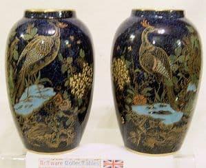 W&R Carlton Ware Rockery & Pheasant Pair of Matching Vases - 1920s - SOLD