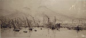 W.L.Wyllie - Steam And Fishing Boats at Naples - Signed Engraving - SOLD