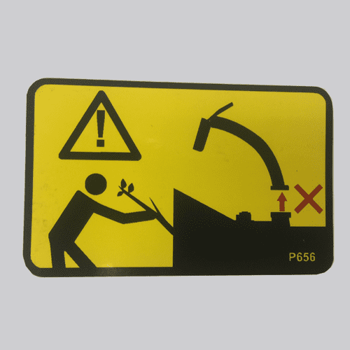 P0000656 - Decal , Do not use without discharge chute