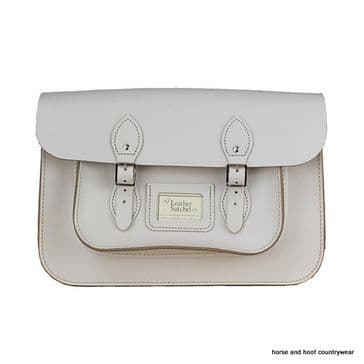 14 Inch Traditional Hand Crafted British Vintage  Leather Satchel - Classic Cloud Cream