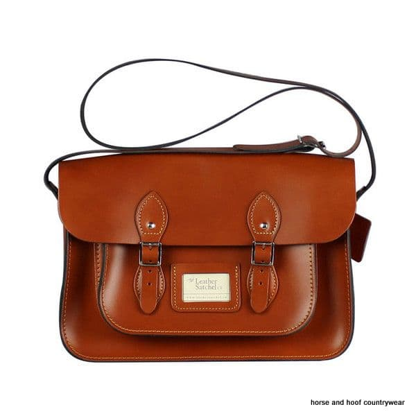 14 Inch Traditional Hand Crafted British Vintage  Leather Satchel - Classic London Tan