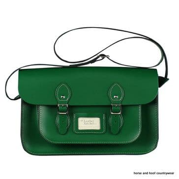 14 Inch Traditional Hand Crafted British Vintage  Leather Satchel - Classic Sherwood Green