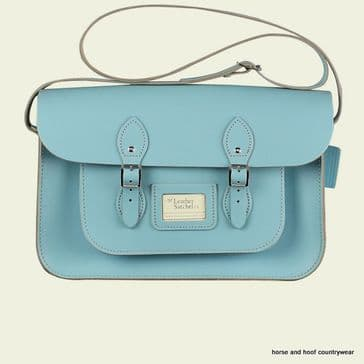 15 Inch Traditional Handmade British Vintage Leather Satchel - Baby Blue