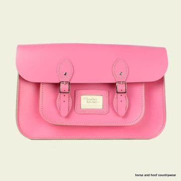 15 Inch Traditional Handmade British Vintage Leather Satchel - Baby Pink