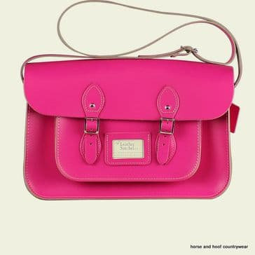 15 Inch Traditional Handmade British Vintage Leather Satchel - Cabaret Pink