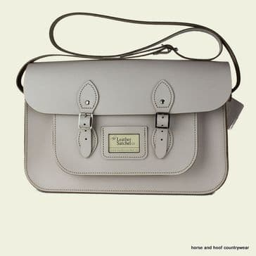 15 Inch Traditional Handmade British Vintage Leather Satchel - Cloud Cream