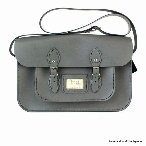 15 Inch Traditional Handmade British Vintage Leather Satchel - Greystoke Granite