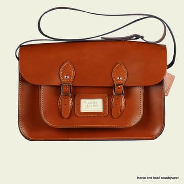 15 Inch Traditional Handmade British Vintage Leather Satchel - London Tan