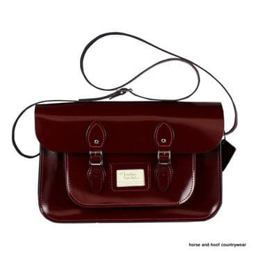 15 Inch Traditional Handmade British Vintage Leather Satchel - Patent Oxblood Red