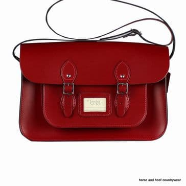 15 Inch Traditional Handmade British Vintage Leather Satchel - Pillarbox Red