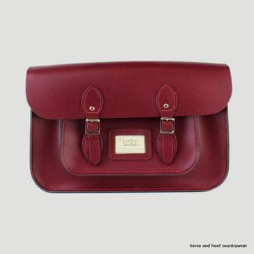 15 Inch Traditional Handmade British Vintage Leather Satchel - Royal Claret Red