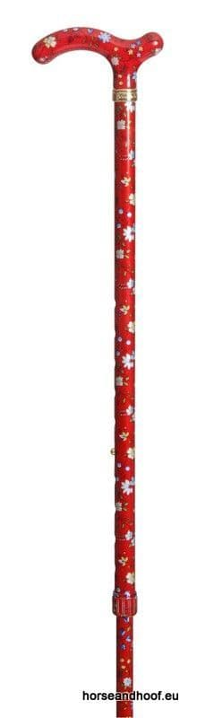Classic Canes Chelsea Height-Adjustable Aluminium Cane - Red Floral