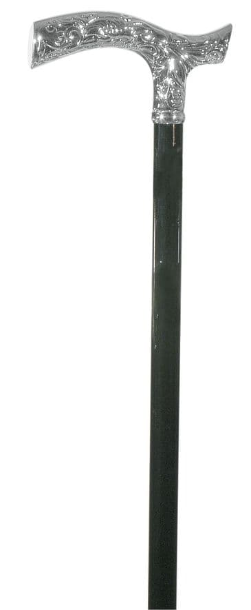 Classic Canes Chrome plated crutch cane, patterned, black shaft