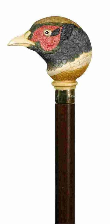 Classic Canes Hand coloured pheasant cane