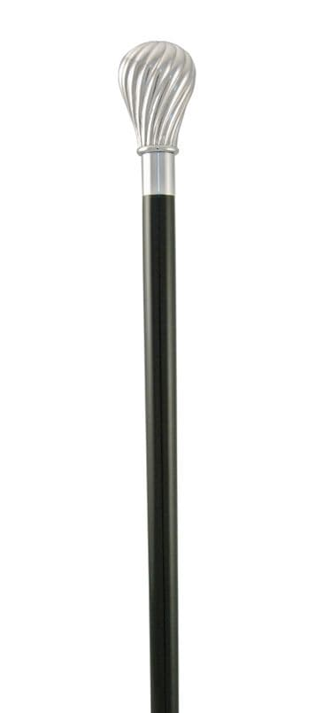 Classic Canes Twisted cap formal cane, silver plated