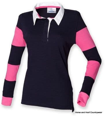 Front Row & Co Women's Striped Sleeve Rugby Shirt