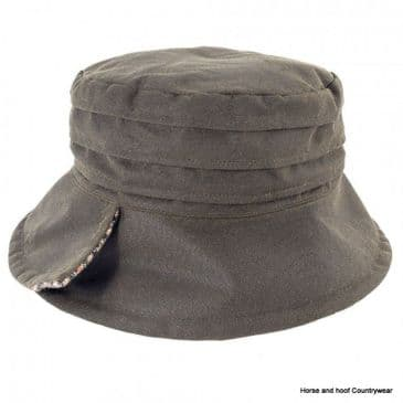 Heather Hats Isobel Ladies Ruched Wax Hat - Olive