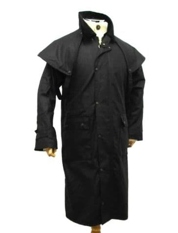 Hunter Outdoor Aussie Duster Long Waxed Cotton Coat - Black