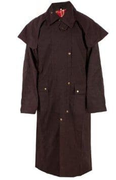 Hunter Outdoor Aussie Duster Long Waxed Cotton Coat - Brown