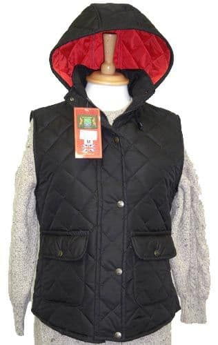 Hunter Outdoor Barley Quilted Gilet - Black with Red Liner