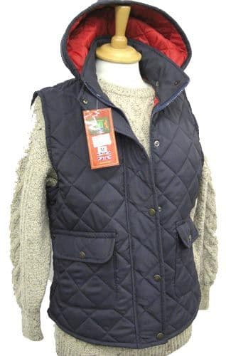 Hunter Outdoor Barley Quilted Gilet - Navy Blue with Red Liner