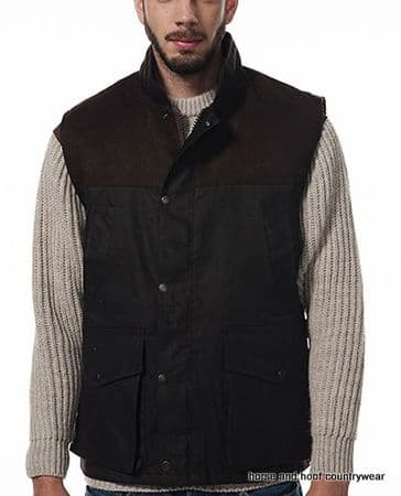 Hunter Outdoor Town & Country 100% Wax Cotton Shooting Gilet - Antique Brown