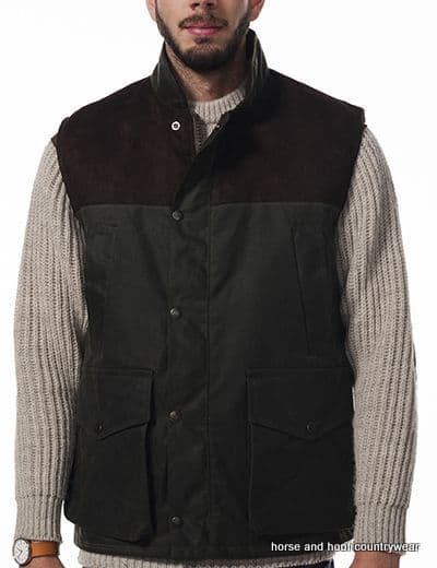 Hunter Outdoor Town & Country 100% Wax Cotton Shooting Gilet - Antique Olive