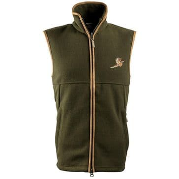 Jack Pyke Countryman Fleece Gilet with Pheasant Motif - Dark Olive