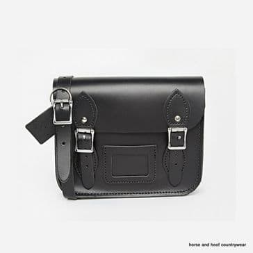 Mini Festival Traditional Handmade British Vintage Leather Satchel - Charcoal Black