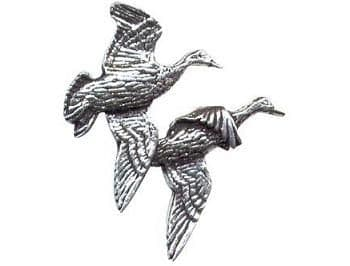 Pewter Pair Of Ducks Badge