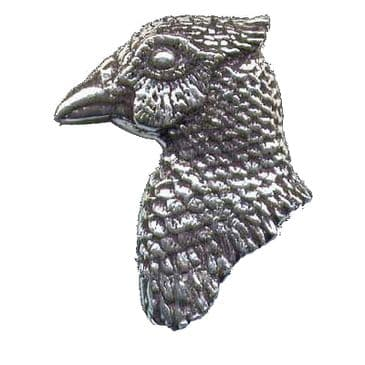 Pewter Pheasant Head Badge