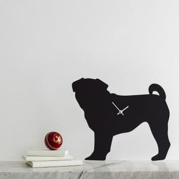 PUG CLOCK WITH WAGGING TAIL