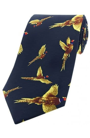 Soprano Blue Large Flying Pheasant Printed Silk Country Tie -Navy