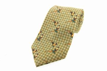 Soprano Brace of Pheasant's Green Printed Silk Country Tie