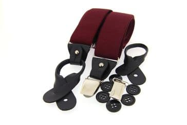 Soprano Luxury Plain Country Braces - Wine