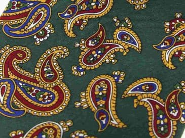 Soprano Paisley Printed Silk Twill Country Handkerchief - Forest Green