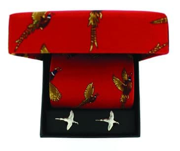Soprano Red Flying Pheasant Country Printed Silk Tie and Cufflink Gift Box Set