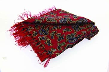 Soprano Red Paisley Tubular Printed Silk Country Scarf