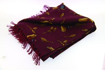 Soprano Wine Flying Pheasant Tubular Printed Silk Country Scarf