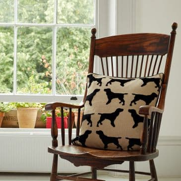 The Labrador Company Eaton Cushion with Leather Piping - Spaniel