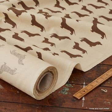 The Labrador Company Printed Cotton Drill - Brown Dachshund