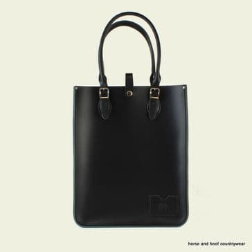 Traditional Hand Crafted British Vintage Leather Tote Bag - Classic Charcoal Black