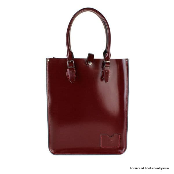 Traditional Hand Crafted British Vintage Leather Tote Bag - Patent Oxblood Red
