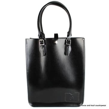 Traditional Hand Crafted British Vintage Leather Tote Bag - Patent Pitch Black