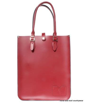 Traditional Hand Crafted British Vintage Leather Tote Bag - Pillarbox Red