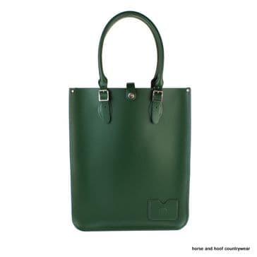 Traditional Hand Crafted British Vintage Leather Tote Bag - Racing Green