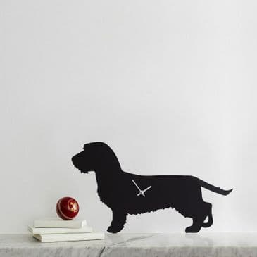 WIRED HAIRED DACHSHUND CLOCK  WITH WAGGING TAIL